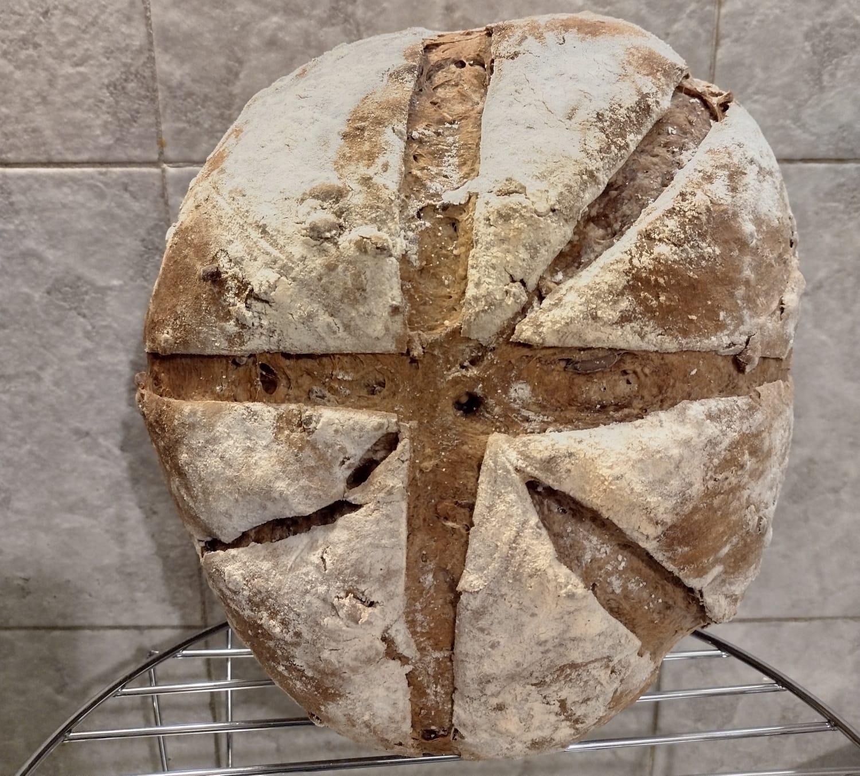 pane nero con semi - fase di raffreddamento in verticale